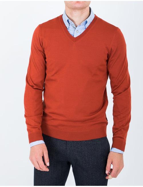 Merinowol Pull met v-hals Oranje