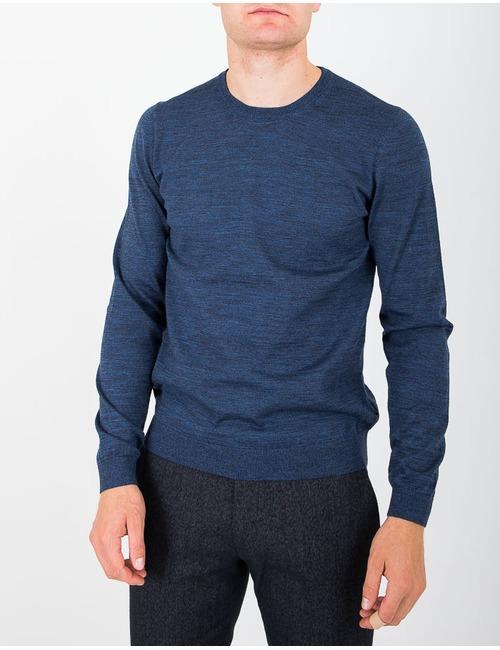 Merinowol pull met ronde hals jeansblauw