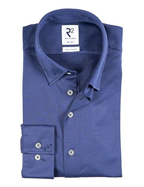Modern fit Hemd met stretch blauw