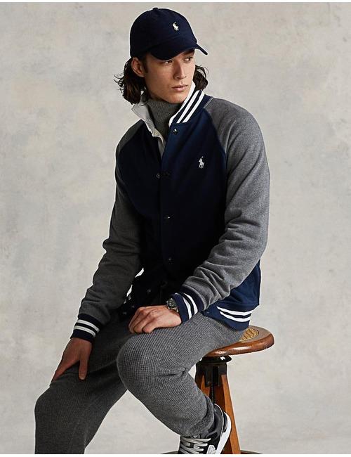 Standard fit Fleece Baseball Jacket Blauw
