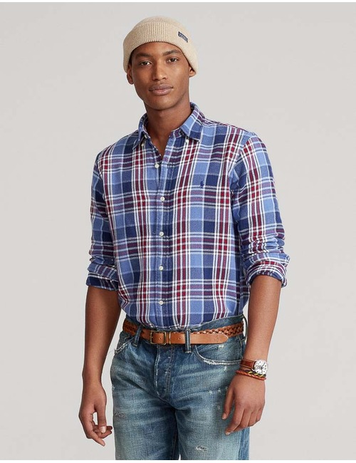 Custom Fit Carreau Hemd Blauw