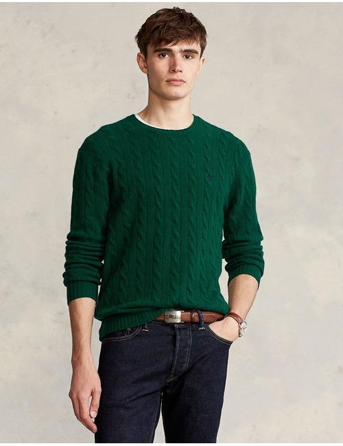 Standard Fit Wollen kabeltrui Groen