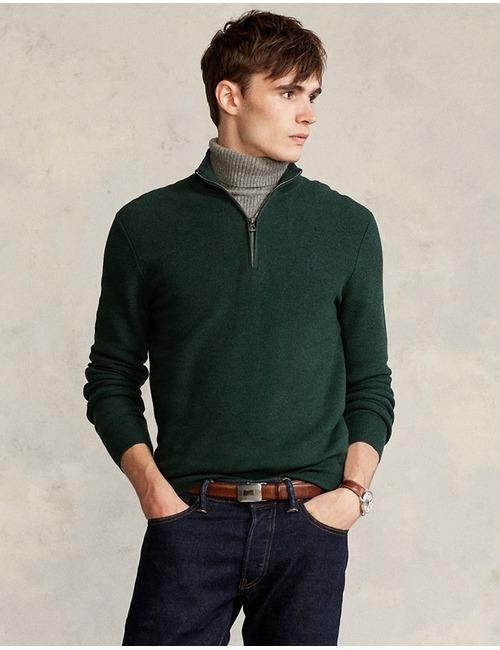 Standard Fit Katoenen pull met korte rits groen