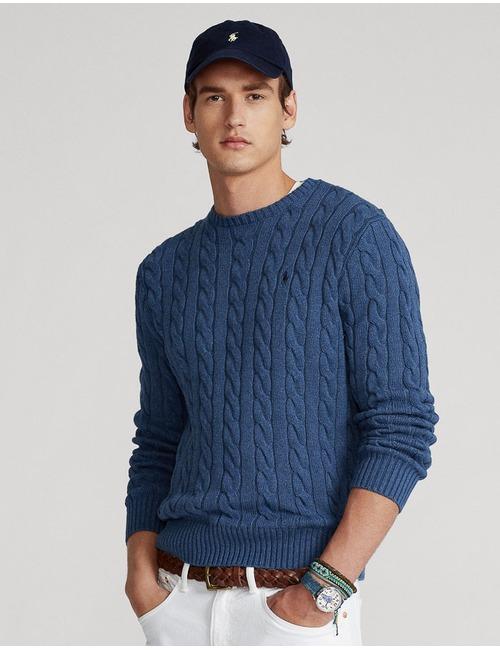 Standard Fit Katoenen kabeltrui blauw