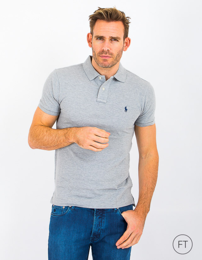 Slim Fit Mesh Polo Grijs