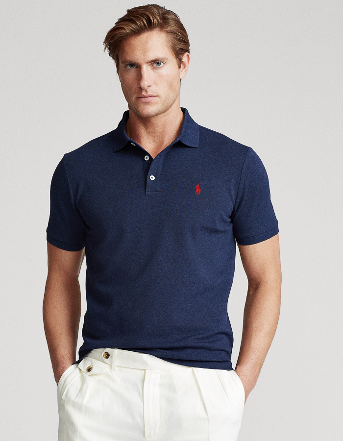 Slim Fit Stretch Mesh Polo blauw