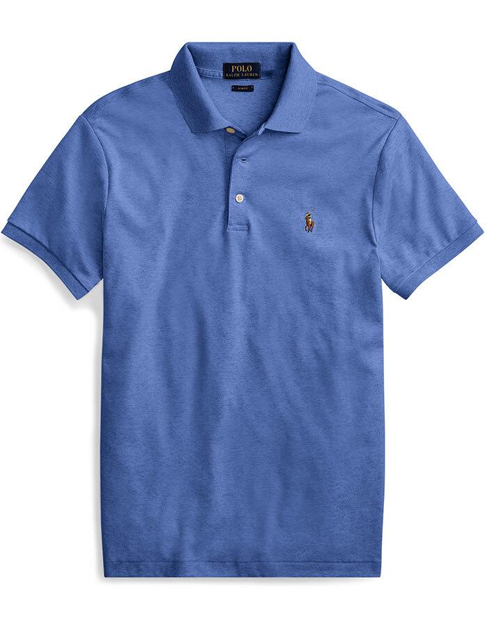 Slim Fit Soft Cotton Polo Blauw